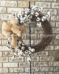 Home Decor With Burlap Cotton Boll Grapevine Wreath With Burlap Bow Great Indoor Or