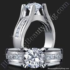 wide band engagement rings wide band floating diamond with invisible channel set princess cut