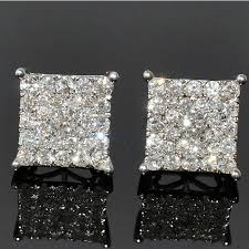 diamond back earrings diamond stud earrings xl big square dia back white