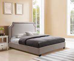 Upholstered Platform Bed King King Platform Bed Taupe Linen W Nailhead Trim Brantford