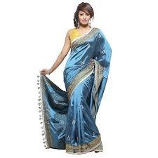 arong saree aarong peacock blue printed and nakshi kantha embroidered silk