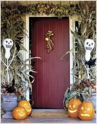 decorations classic front door hallowen theme with door