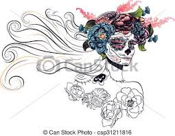 sugar skull in flower crown day of the dead vector clip