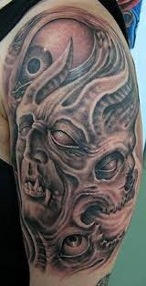 half sleeve death face tattoo design photos pictures and
