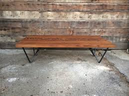 reclaimed douglas fir coffee table with hand welded steep