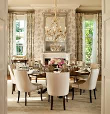 expandable round table dining room transitional with crown molding