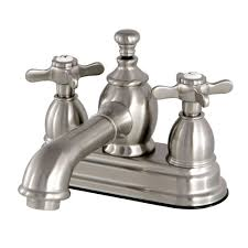shop kingston brass vintage satin nickel 3 handle fixed wall mount bathtub faucet at lowes com kingston brass vintage cross 4 in centerset 2 handle mid arc