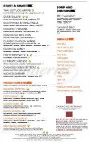 canyons restaurant u0026 bar menu redmond dineries