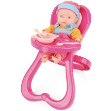 High Chair Toy Doll With Highchair Playset In Pink By Snuggles Toyrific