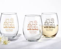 personalized 9 oz stemless wine glass pairs well with turkey