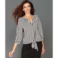 striped blouse lyst inc international concepts threequartersleeve tiefront