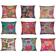 Sofa Cushion Cover Designs Amazon Com 10 Pc Lot Square Silk Home Decor Cushion Cover Indian