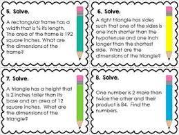 quadratic word problems task cards algebra pinterest