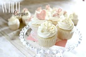 white cupcakes for a virtual baby shower