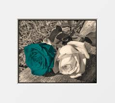 brown teal rose flower wall art home decor picture teal wall