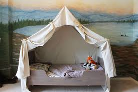 Wall Canopy Bed by Remodelaholic Camping Tent Bed In A Kid U0027s Woodland Bedroom