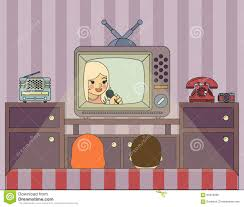 retro show people watch tv illustration in stock vector image