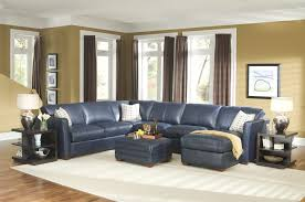 Leather Blue Sofa Furniture Blue Leather Sectional Sofa And White Cushions Added
