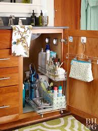 the kitchen sink cabinet organization the sink storage solutions better homes gardens