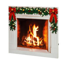 mr christmas mr christmas 28 in illuminart fireplace canvas with faux