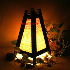 oriental home decor bedside table lamp wood bamboo furniture