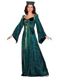 Halloween Costume Sale Uk Medieval Lady In Waiting Green Partynutters Uk