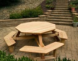 Free Woodworking Plans Hexagon Picnic Table by Furniture Hexagon Table Picnic Table Plans With Separate Benches