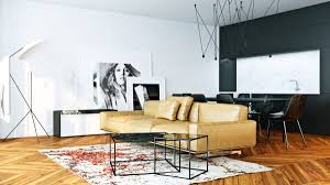 living room minimalist living rooms features bold floral mural monochrome photographic prints wall art modern tripod floor lamp light leather upholstered sofa attractive modern pendant