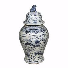 blue u0026 white large porcelain foo dog motif temple jar ginger jar