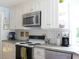 interior glass subway tile backsplash white cabinets white