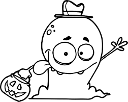 friendly alien monster trick or treating on halloween wearing a