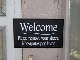 Home Decor Signs Sayings Welcome Please Remove Shoes No Zapatos Por Favor Vinyl English