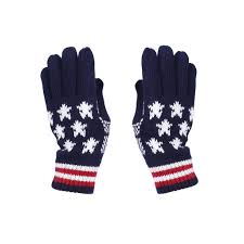Maroon And White Flag Knit Usa Flag Winter Gloves For Women