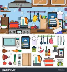 Home Design App Using Photos by Thin Line Flat Design Recipes App Stock Vector 372052585