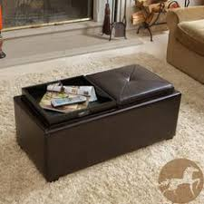 mansfield bonded leather espresso tray top storage ottoman by