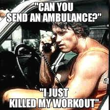 Work Out Meme - schwarzenegge jokes at the gym workout