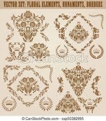 eps vectors of set of vector damask ornaments set of gold