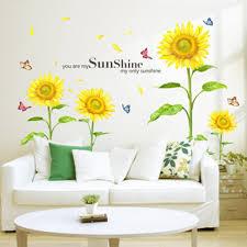 amazon com docooler sunshine sunflower butterfly dancing in amazon com docooler sunshine sunflower butterfly dancing in summer beautiful removable wall stickers diy kid s child room decor decal lm858 90 60cm