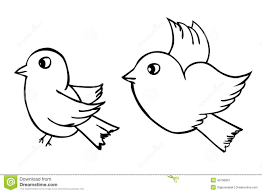 vector hand draw sketch two outline birds isolated on white