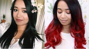 ambry on black hair diy black to red ombre hair transformation youtube