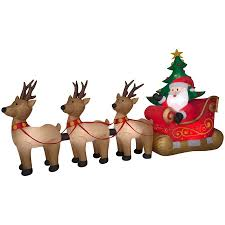 Lighted Sleigh And Reindeer by Shop Holiday Living 8 2 Ft X 15 49 Ft Lighted Santa Christmas