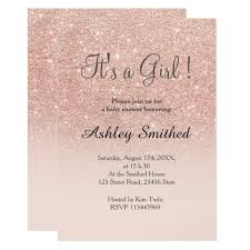 pink and gold baby shower invitations gold faux glitter pink ombre girl baby shower card zazzle
