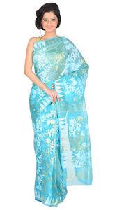 dhakai jamdani saree buy online sky blue cotton handloom resam silk muslin dhakai jamdani saree