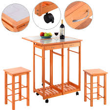 costway rolling kitchen island trolley cart drop leaf table w 2