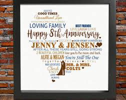 8 year anniversary gifts 8th anniversary gift etsy