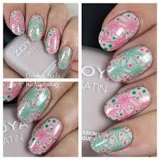 ehmkay nails 35th anniversary nails with coral and jade nail art