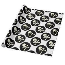 skull wrapping paper black skull and bones wrapping paper black skulls