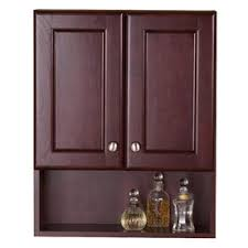 cherry bathroom wall cabinet style selections clementon 25 6 in h x 20 5 in w x 7 9 in d cherry