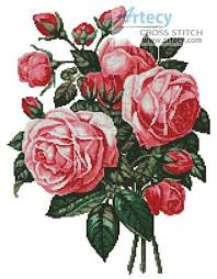 bouquet of pink roses cross stitch pattern roses