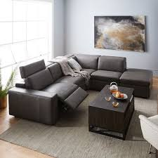 enzo leather reclining 4 seater sectional with storage ottoman